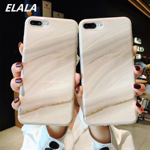 ELALA Crack Marble Phone Case For iPhone X Glitter Fresh Candy Color Cover 6 6S 7 8 Plus XS Max XR IMD