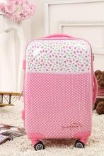 Wholesale!20 inches feminine cute pink polka dot flower print abs+laptop hardside journey baggage bag on Eight-universal wheels