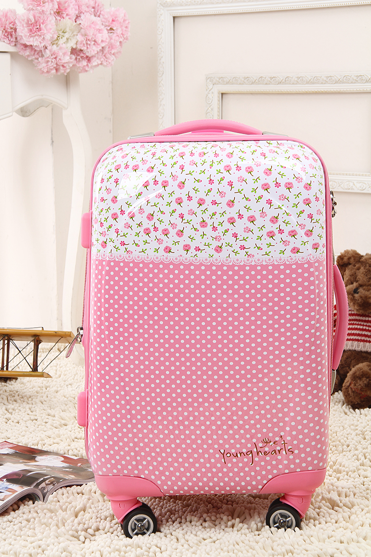 Wholesale!20 inches female cute pink polka dot flower print abs+pc hardside travel luggage bag on 8-universal wheels