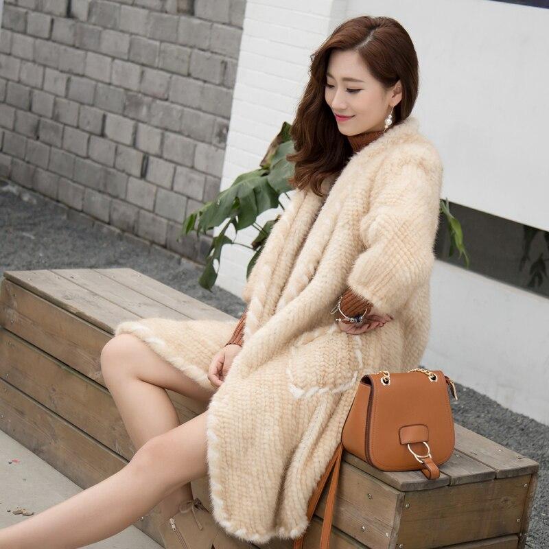 2018 новый стиль норки Плетеный Длинные пальто с мехом нагрудные норковая шуба Женские Модные осенние и зимние свободные была тонкая рубашка