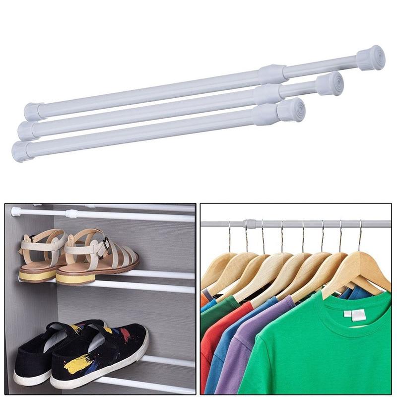Adjustable Curtain Rod Metal Spring Loaded Bathroom Bar Shower Extendable Telescopic Poles Rail Hanger Rods 66CY