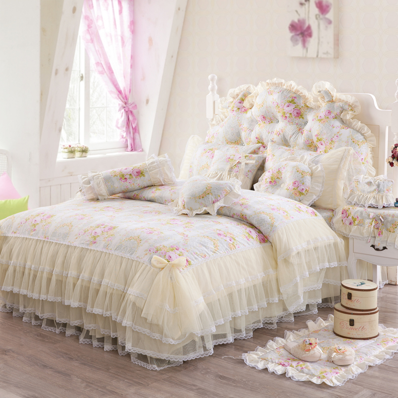 2017 New 100 Cotton Princess Bedding Set lace Duvet cover Bed skirt Pillow Small Mat Bedstand
