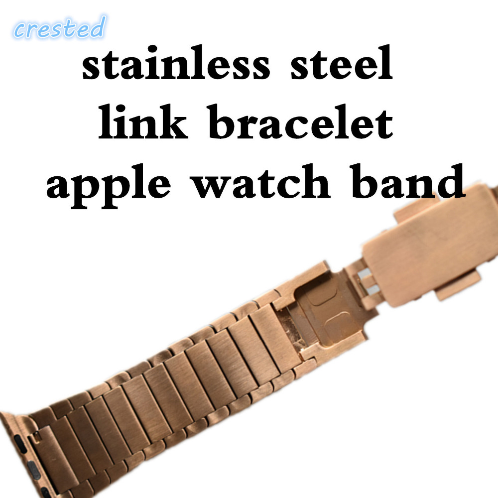 CRESTED Stainless Steel watch strap for Apple Watch Band 42mm/38 Link Chain Arc Clasp Watch Bracelet Strap Belt for iwatch 1 2 3 crested stainless steel watch band strap for apple watch 42 mm 38 mm link bracelet replacement watchband for iwatch serise 1 2