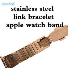 Хохлатая Нержавеющая сталь ремешок для Apple Watch группа 42 мм/38 звено цепи Arc застежка часы браслет ремень Для iwatch 1 2 3