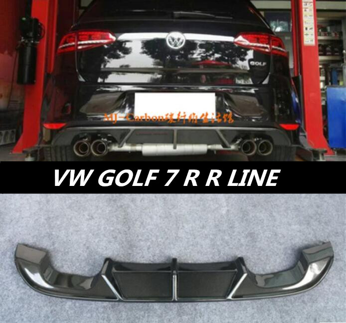 JIOYNG Carbon fiber Rear Bumper Lip Spoiler Diffuser Cover For Volkswagen VW GOLF 7 MK7 GTI R LINE Fast by EMS