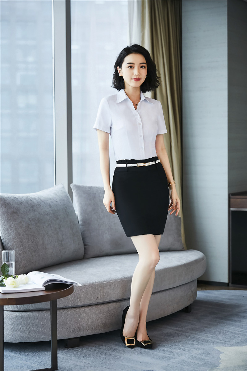 Fashion Women Suits with 2 Piece Skirt and Blouses Sets White Tops & Blouse Ladies Office Uniform Designs Styles Business Suits