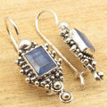 Blue sappfire Gem Earrings !  Silver Plated Decorative Jewelry 1 1/4 Inches