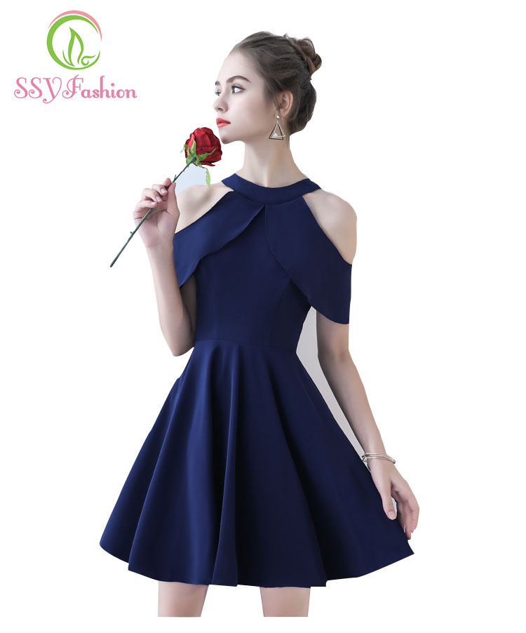 SSYFashion Halter Collar Cocktail Dress The New Style Stretch Satin Off Shoulders  A-line Evening Party Formal Prom Dresses