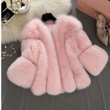 b 2018 Autumn Winter Women Faux Fox Fur Coat Seven-quarter sleeve Female Jacket Gilet Fourrure manteau femme