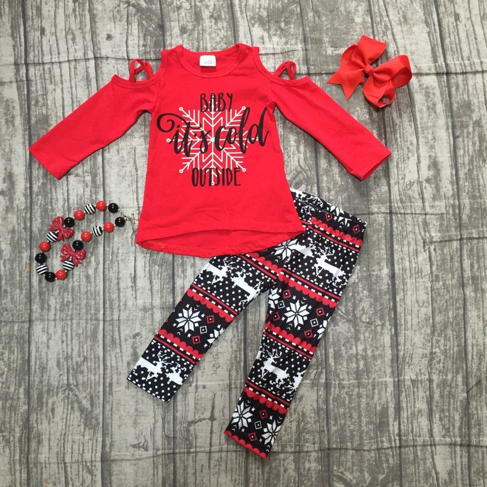 Christmas baby girls children clothes off shoulder boutique cotton it's cold outside outfits plaid snowflake match accessories christmas baby girls children clothes off shoulder boutique cotton it s cold outside outfits plaid snowflake match accessories