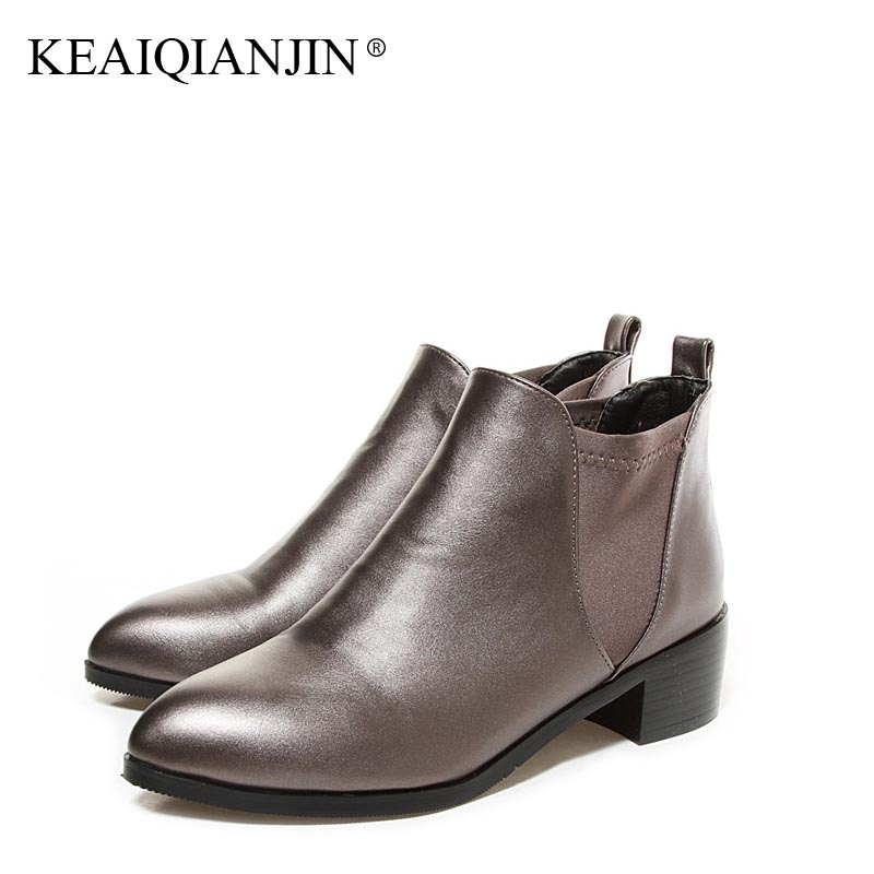 KEAIQIANJIN Woman Golden Martin Boots Black Plus Size 32 - 44 Chelsea Boots Fashion Plush Pointed Toe Cheap Winter Shoes 2018