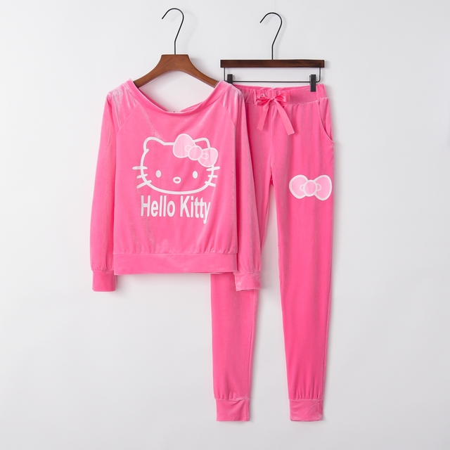 New Print Women's Tracksuits O-Neck Set Suits For Women hoodies sweatshirt for women long pants lady female 10 Hello Kitty