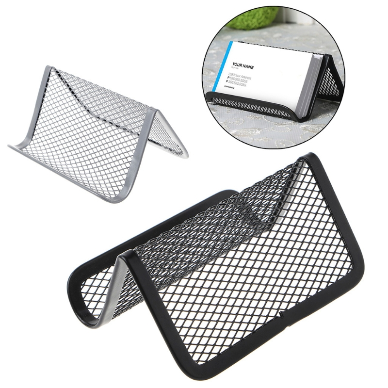 Metal Mesh Business Card Holder Stand For Desk Office Business Card Holder Collection