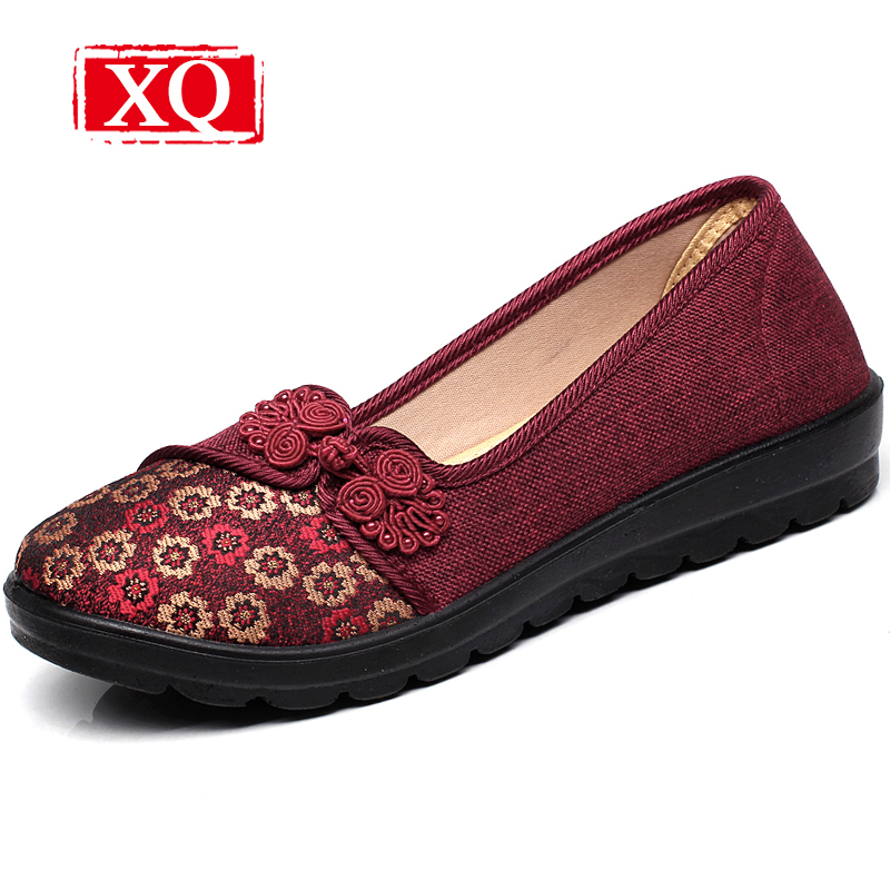 XQ New Spring&Autumn Women Shoes Brand Casual Cloth Shoes Non-slip Flats Shallow Single Loafer Slip-on Round Toe Shoes L132 xq new breathable cloth shoes fashion women hollow out summer casual shoe air mesh flat shoes sandals non slip ladies shoes s102