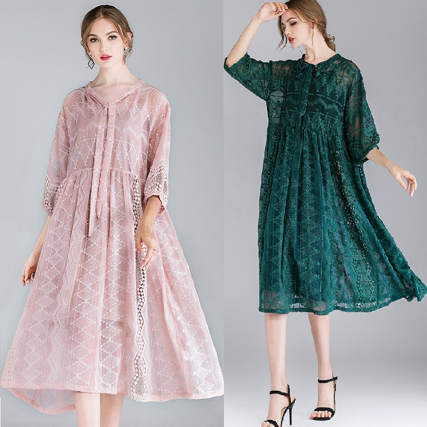 7e23ea239eb45 US $41.6 35% OFF|2019 Spring Women Plus Size Loose Fit bow embroidery Dress  Elegant Fake Silk chiffon Dress twin set chiffon dress vestidos XXXXL-in ...