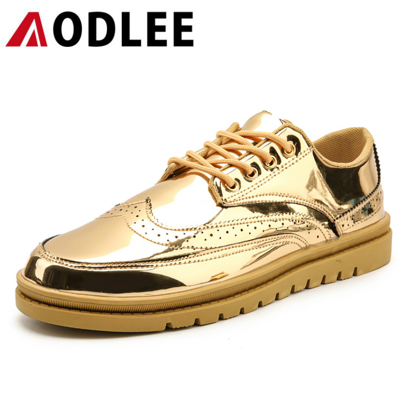 AODLEE Gold Brogue Casual Shoes Men Plus Size 39-46 Fashion Sneakers Men Leather Shoes Breathable Mens Shoes Casual mocassin
