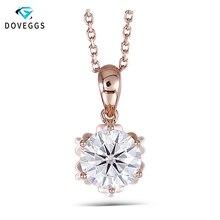 Ожерелье из розового золота DovEggs 18K 750, 1CTW, 6,5 мм, F цвет, бриллиант, бриллиант с 14 дюймовой цепочкой из 18 каратного розового золота