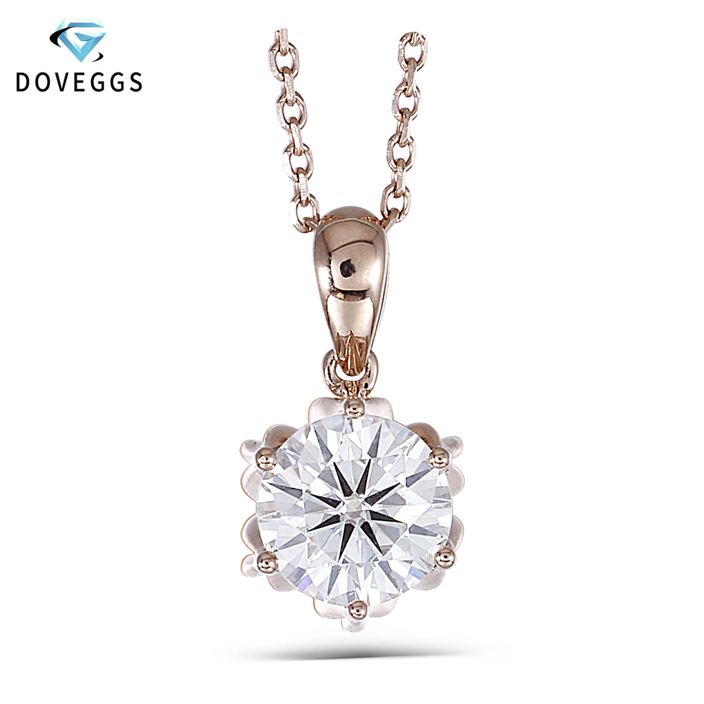 DovEggs 18K 750 Rose Gold 1CTW 6.5mm F Color Moissanite Flower Shaped Pendant Necklace with 14 Inch Chain