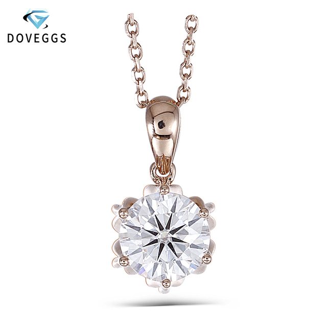"""DovEggs 18K 750 Rose Gold 1CTW 6.5mm F Color Moissanite Flower Shaped Pendant Necklace with 14"""" Inch 18K Rose Gold Chain"""