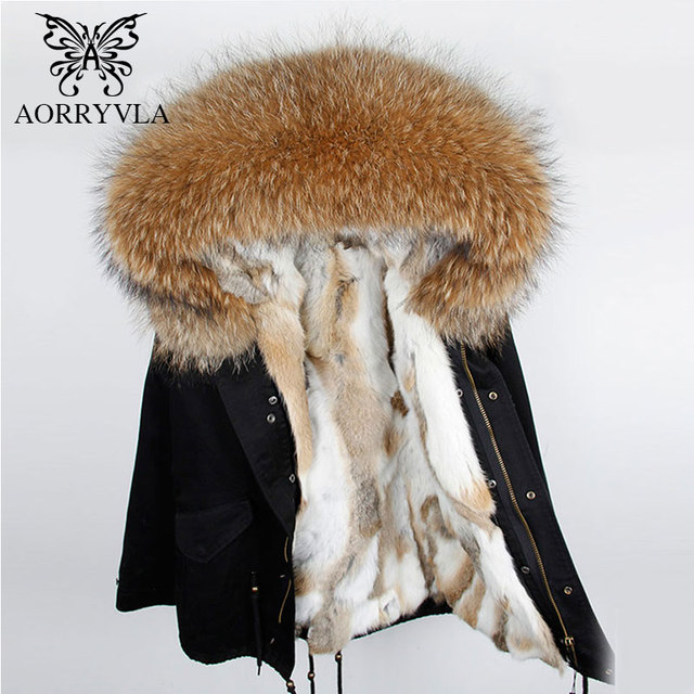 AORRYVLA Short Winter Jacket Women Parka 2018 Natural Raccoon Fur Hooded Coat Real Rabbit Fur Liner Ladies Winter Jackets