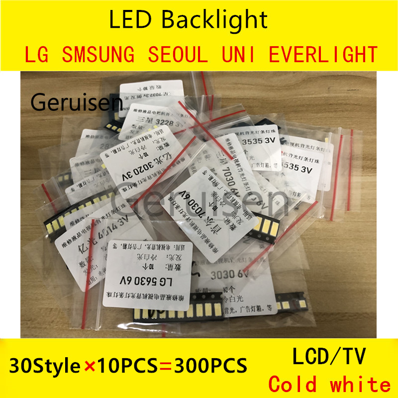 Back To Search Resultslights & Lighting Enthusiastic Cold White 30 Values *10pcs=300pcs For Tv Backlight Beads 2835/3030/3535/3014/5630/6030/7020/7030/7032 1w/0.5w Smd Led Kit 3v/6v Lighting Accessories