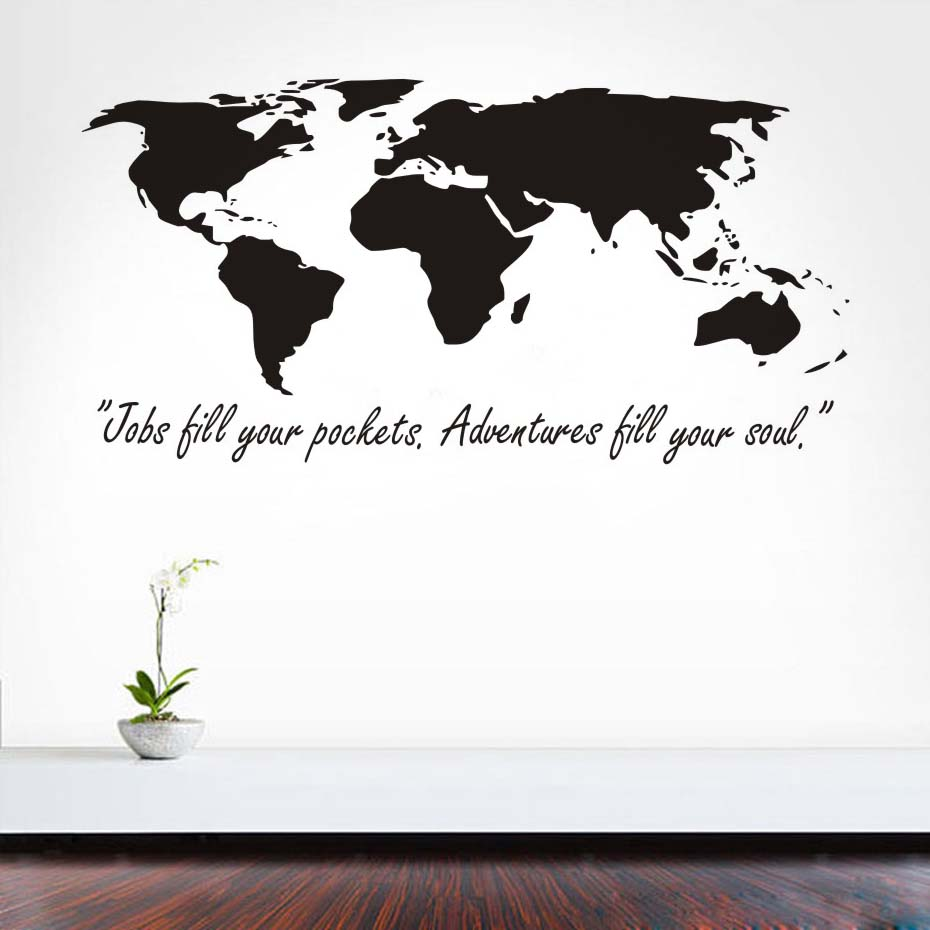 Home Decor Jobs Us 20 17 Diy Home Decor Removable Vinyl Jobs Till Your Pockets Adventures Till Your Soul Wall Stickers World Map For Kids Room Decoration In Wall