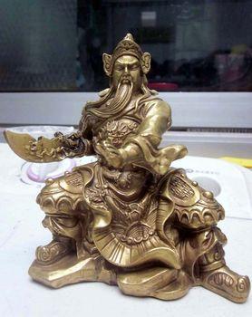 Chinese Brass Copper Warrior God Guan Gong Statue