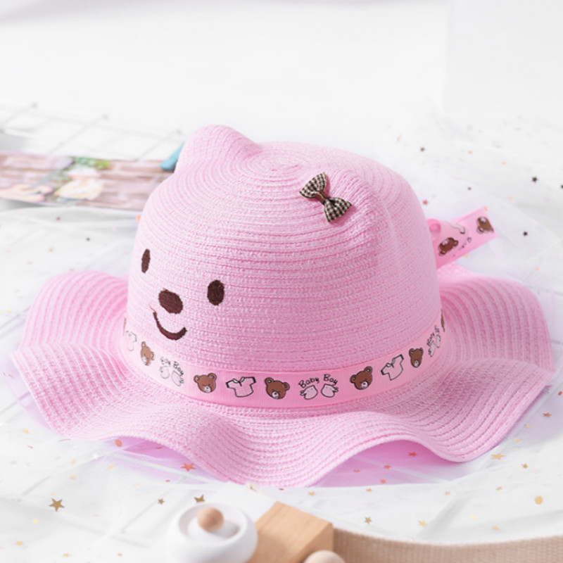 Baby Child Summer Hat Girls//boys Bow Sun Hat Cute Mickey Mouse style color-khaki
