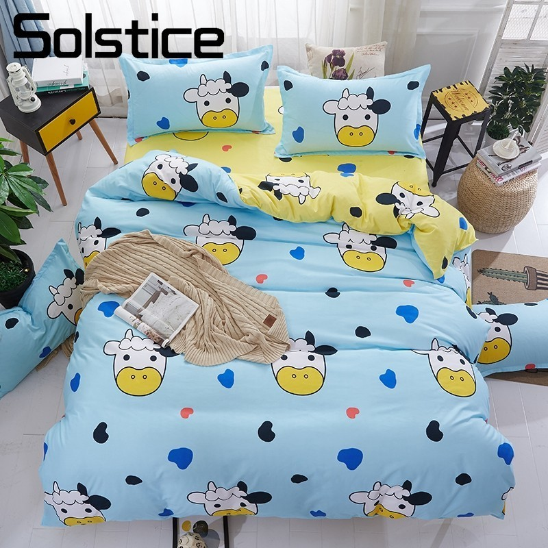 Solstice Home Textile King Queen Twin Size Bedding Set Kid Child Teen Boy Girl Linen Cow Duvet Quilt Cover Pillowcase Flat Sheet