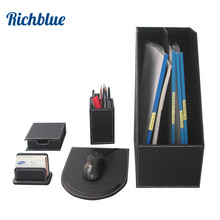 5Pcs /Set File Stationery Desk Set Organizer Pen Holder Box Note Case Card Stand Mouse Pad T93
