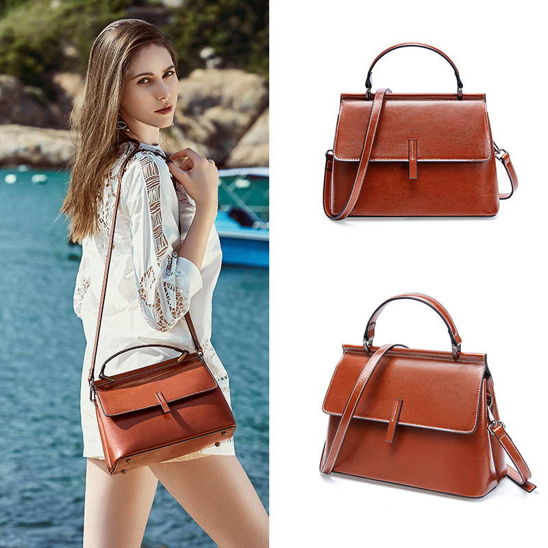 2019 new vintage style handbags for women summer beach multi shoulder bags ladies satchels head layer cowhide pack in Shoulder Bags from Luggage Bags