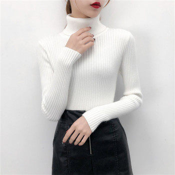 2019 Women Sweater casual solid turtleneck female pullover full sleeve warm soft spring autumn winter knitted cotton 1