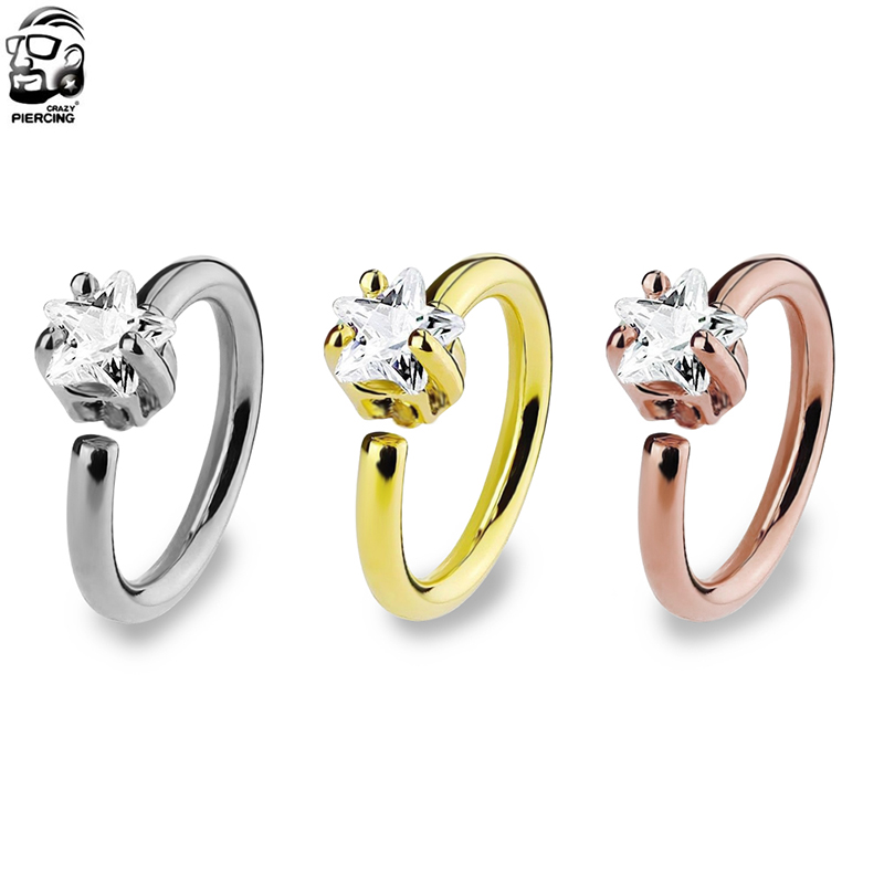 High Quality Star Ziron Nose Hoop Ring Nose Stud Ear Tragus