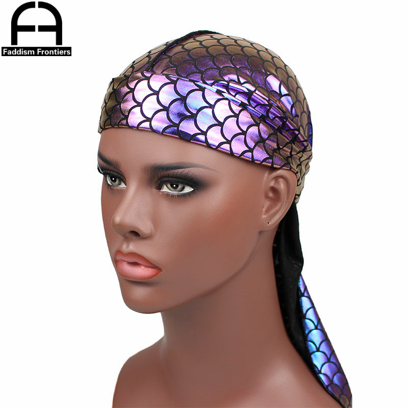 Nuevos hombres brillantes Durags Bandanas hombres coloridos DuRag sedoso  turbante olas gorras Headwear accesorios Du Rag en Bandas para la cabeza de  ... 5aa0f0d5140