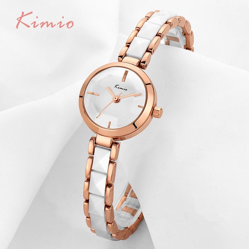KIMIO Moda Różowe Złoto Bransoletka Zegarek Kobiety Kwarcowe - Zegarki damskie - Zdjęcie 6