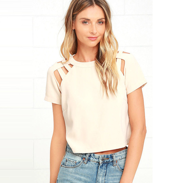 Trenzado de manga corta recortada camisetas mujeres negro summer casual más el tamaño de camisetas de las señoras beige recorte camisetas sueltas tops