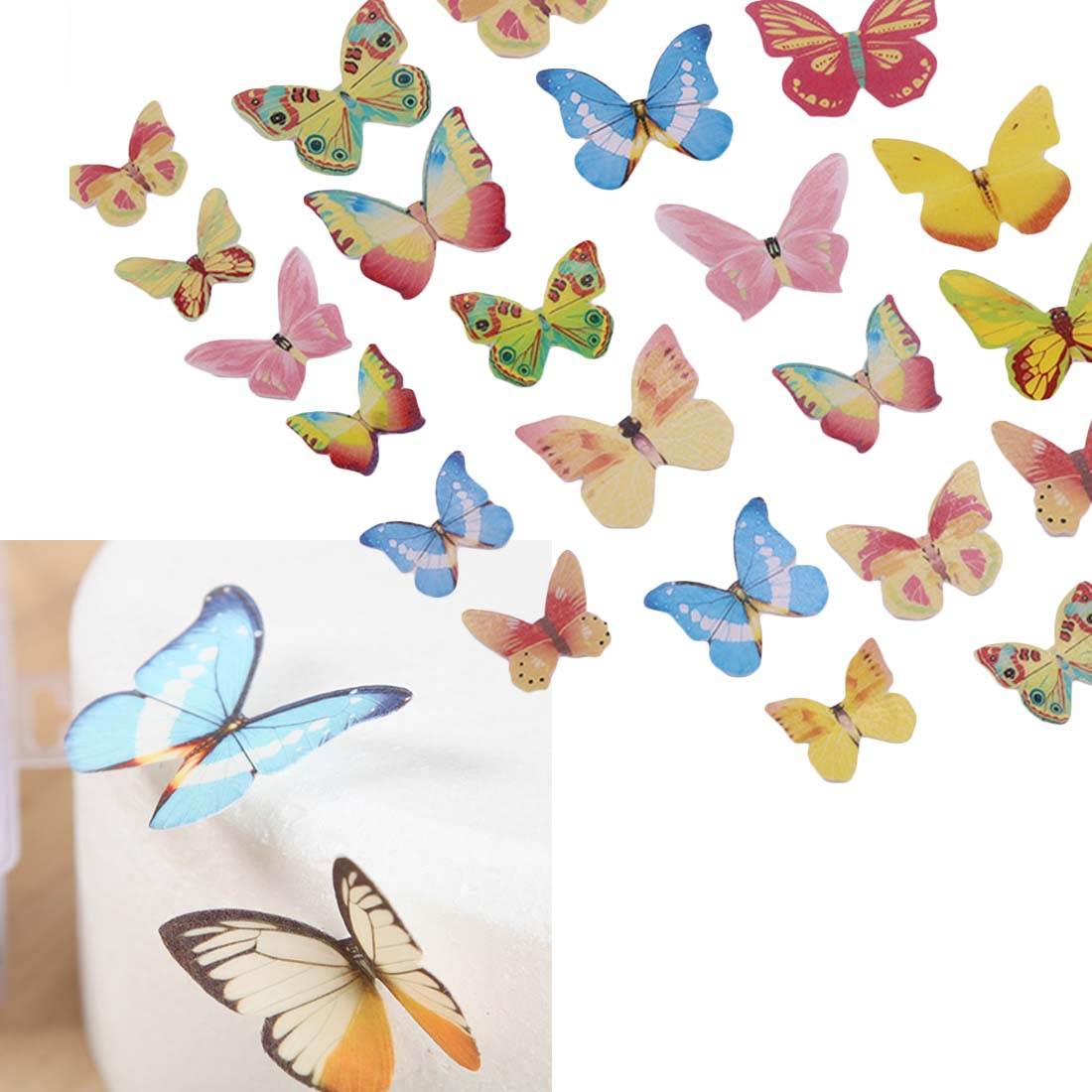 10pcs/set Mixed Butterfly Edible Glutinous Wafer Rice Paper Cake Cupcake Toppers  For Cake Decoration Birthday Wedding