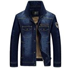 Новая джинсовая куртка большой Размеры военные Костюмы Для мужчин куртка на весну и зиму теплые флисовые пальто с вышивкой в стиле ретро синий кардиган