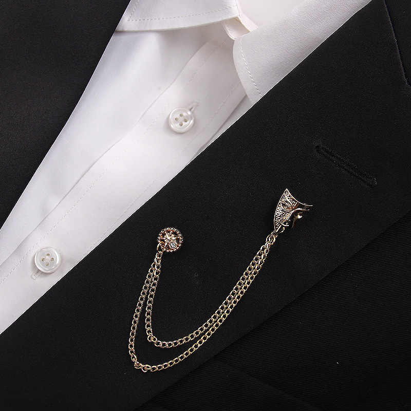 4bea6b48e Fashion gold color men brooch rhinestone mask chain tassel brooches lapel  pins for women men suit