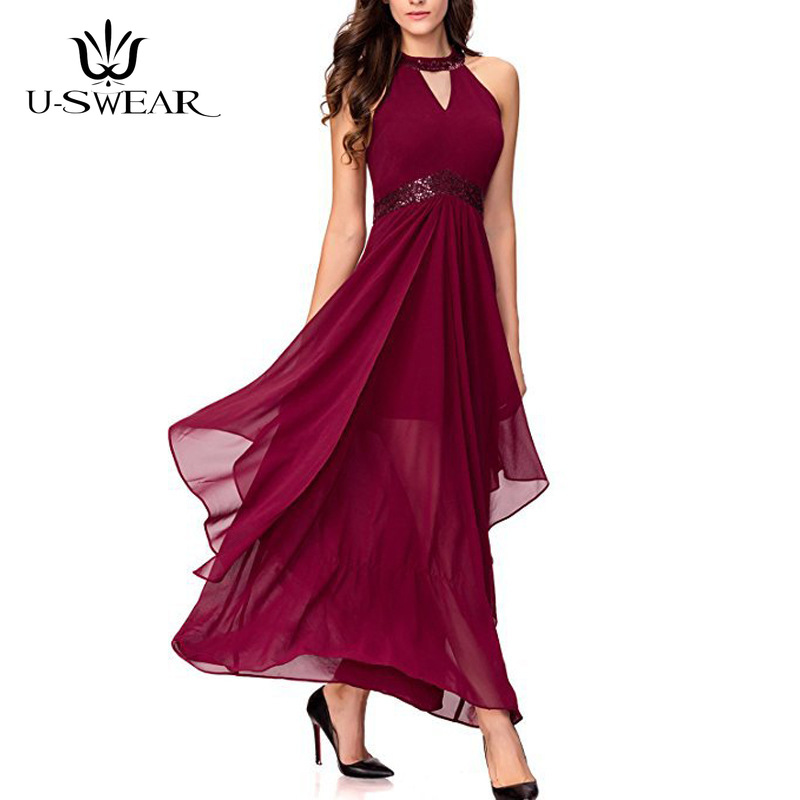 U-SWEAR   Evening     Dress   2019 Sexy Halter Sleeveless Backless   Evening   Party Prom Formal Gowns Long   Dresses   Vestidos Robe De Soiree