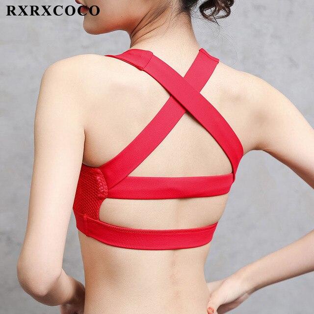 ce87285e25d89 RXRXCOCO 2018 Hot Back Sexy Yoga Bra Women Sports Bra Quick Dry Vest Push  Up Padded