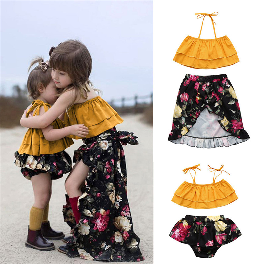 2018 New Infant Baby Girl Off shoulder Strap Top Floral Bloomer Shorts Sister Clothes Set For Photograph Dropshipping BTTF