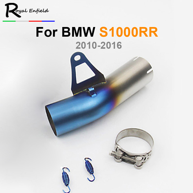 Half blue Motorcycle mid exhaust pipe middle exhaust pipe Exhaust middle 58mm pipe for BMW S1000RR 2009 2010 2011 2012 2013 2014