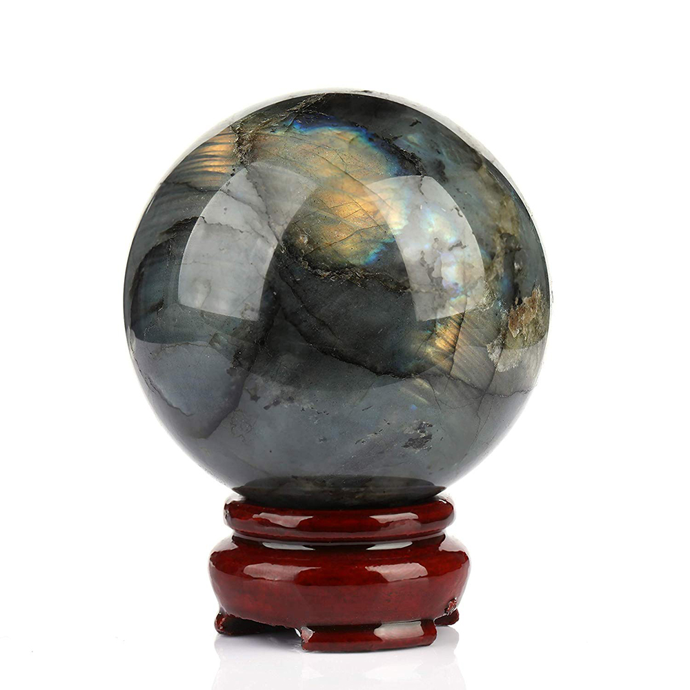 Natural Labradorite Quartz Crystal Ball Flash Moonstone Sphere Reiki Healing Cristaux Wicca Fengshui Decoration Free Wood Stand