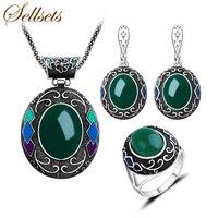 Sellsets Nueva Moda Joyería Turca Grande Ovalada Colgante Collar de Esmalte Y Verde Resina Vintage Color Plata Conjuntos de Joyas