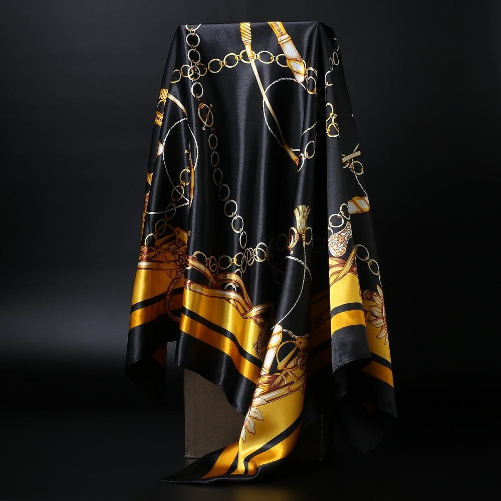 Fashion Print   Scarves   For Women Silk Satin Head   Scarf   Female 90*90cm 2019 Luxury Brand Square Shawl   Wrap   Hijab Scarfs For Ladies