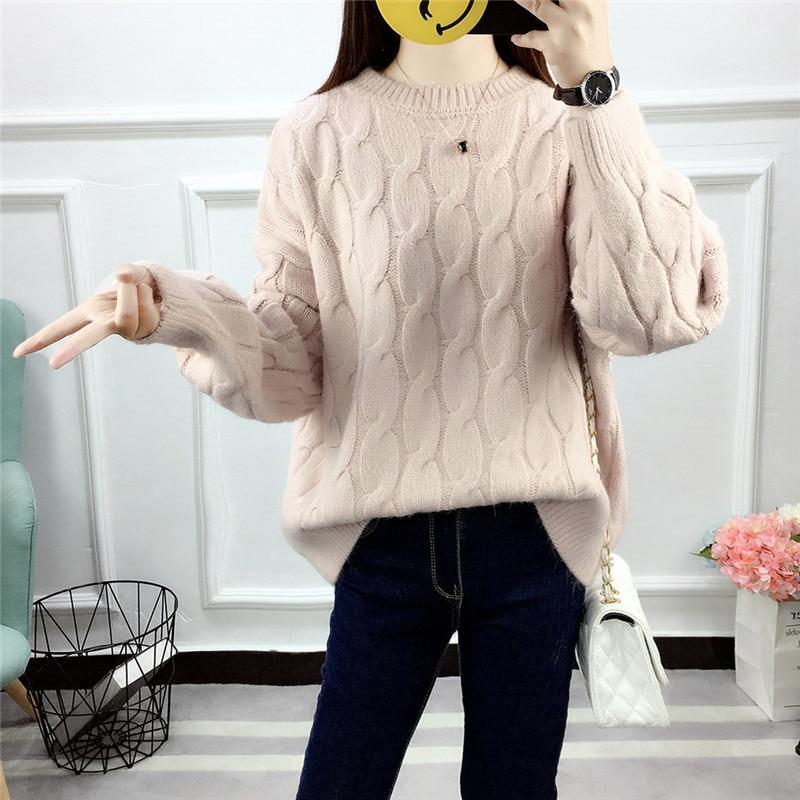 b607394fbb91 O Femme Sólido Top Abrigo De Invierno Las Azul Manga Delgada Suéteres  rosado blanco marrón Casual Cuello Larga Otoño ...