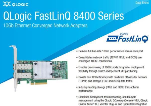 QLogic QLE8442-SR-CK QLE8442 2 ports sr-optique 10GbE FC tcp/ip SAN iSCSI FCoE adaptateurs carte contrôleur réseau PCIe