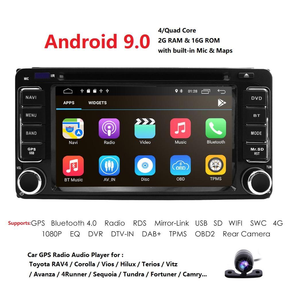 Android 9,0 dvd плеер для Toyota универсальный RAV4 COROLLA VIOS HILUX Terios Land Cruiser 100 PRADO 4RUNNER DVR Bluetooth задняя камера