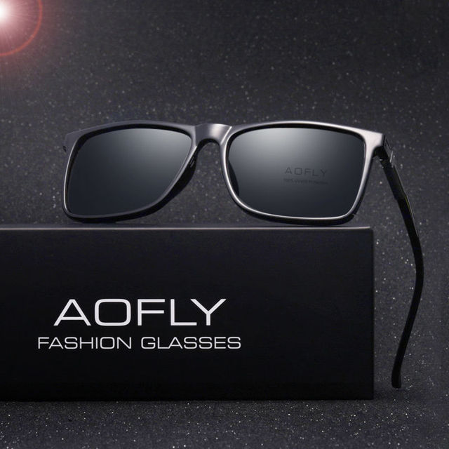 68a20d14a8 AOFLY Brand Classic Black Polarized Sunglasses Men Driving Sun Glasses for  man Shades Eyewear With Box Oculos AF8029